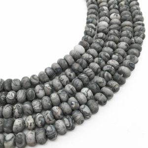 Shop Picture Jasper Rondelle Beads! 8x5mm Matte Gray Picture Jasper Rondelle Beads, Rondelle Stone Beads, Gemstone Beads | Natural genuine rondelle Picture Jasper beads for beading and jewelry making.  #jewelry #beads #beadedjewelry #diyjewelry #jewelrymaking #beadstore #beading #affiliate #ad