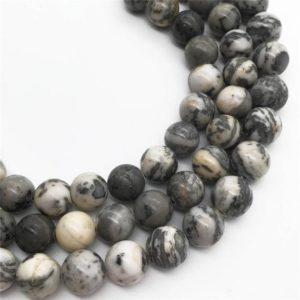 Shop Picture Jasper Round Beads! 10mm Gray Picture Jasper Beads, Round Gemstone Beads, Wholesale Beads | Natural genuine round Picture Jasper beads for beading and jewelry making.  #jewelry #beads #beadedjewelry #diyjewelry #jewelrymaking #beadstore #beading #affiliate #ad