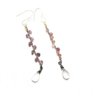Shop Pink Tourmaline Earrings! Pink tourmaline and ice quartz earrings // Pink tourmaline earrings // Dangling Earrings // Sterling Silver dangle Earrings // Gift for her | Natural genuine Pink Tourmaline earrings. Buy crystal jewelry, handmade handcrafted artisan jewelry for women.  Unique handmade gift ideas. #jewelry #beadedearrings #beadedjewelry #gift #shopping #handmadejewelry #fashion #style #product #earrings #affiliate #ad