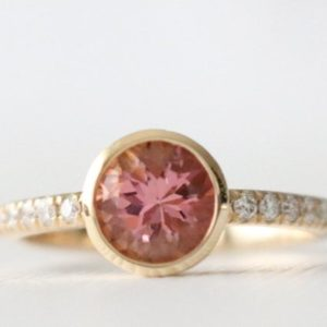 Pink Tourmaline Bezel Diamond Ring, Pink Tourmaline Ring, Tourmaline Ring, Tourmaline Jewelry, Tourmaline Engagement In 14k Yellow Gold | Natural genuine Gemstone rings, simple unique alternative gemstone engagement rings. #rings #jewelry #bridal #wedding #jewelryaccessories #engagementrings #weddingideas #affiliate #ad