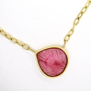 Shop Pink Tourmaline Jewelry! Pink Tourmaline Necklace, Unique Tourmaline Necklace, Gold Necklace Women 18k, Solid 18k Gold Necklace, Carved Stone Flower Necklace | Natural genuine Pink Tourmaline jewelry. Buy crystal jewelry, handmade handcrafted artisan jewelry for women.  Unique handmade gift ideas. #jewelry #beadedjewelry #beadedjewelry #gift #shopping #handmadejewelry #fashion #style #product #jewelry #affiliate #ad