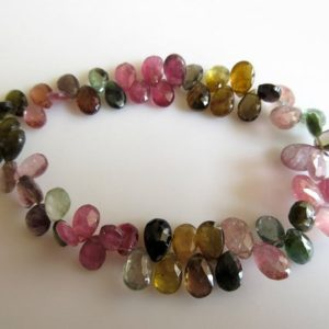 Shop Pink Tourmaline Bead Shapes! Green Tourmaline Beads, Pink Tourmaline, Tourmaline Pear Beads, Faceted Tourmaline Beads, 7mm To 9mm, 4 Inch Half Strand, SKU-TR8 | Natural genuine other-shape Pink Tourmaline beads for beading and jewelry making.  #jewelry #beads #beadedjewelry #diyjewelry #jewelrymaking #beadstore #beading #affiliate #ad