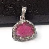 Pink Tourmaline Pendant, Gemstone Pendant, Pave Diamond Pendant, Sterling Silver Tourmaline Slice Pendant, October Birthstone Jewelry | Natural genuine Gemstone jewelry. Buy crystal jewelry, handmade handcrafted artisan jewelry for women.  Unique handmade gift ideas. #jewelry #beadedjewelry #beadedjewelry #gift #shopping #handmadejewelry #fashion #style #product #jewelry #affiliate #ad