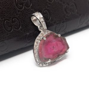 Shop Pink Tourmaline Pendants! Pink Tourmaline Pendant, Gemstone Pendant, Sterling Silver Tourmaline Slice Pave Diamond Pendant, October Birthstone Jewelry | Natural genuine Pink Tourmaline pendants. Buy crystal jewelry, handmade handcrafted artisan jewelry for women.  Unique handmade gift ideas. #jewelry #beadedpendants #beadedjewelry #gift #shopping #handmadejewelry #fashion #style #product #pendants #affiliate #ad