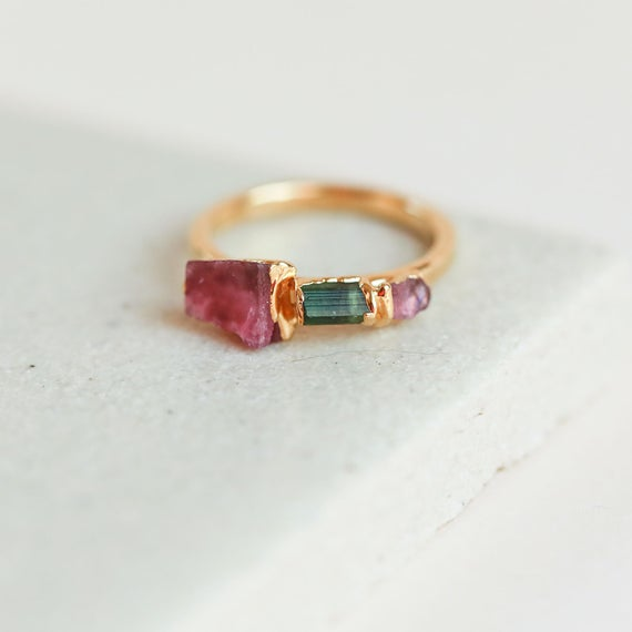 Pink Tourmaline Ring | Tourmaline Crystal Ring | Green Tourmaline Ring | October Birthstone Ring | Raw Birthstone Jewelry | Gemstone Ring