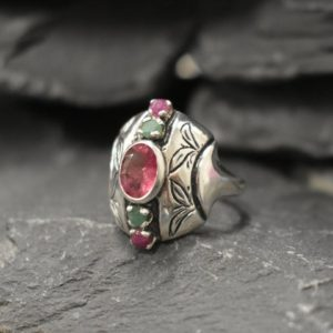 Shop Pink Tourmaline Rings! Pink Tourmaline Ring, Natural Tourmaline, October Birthstone, Multistone Ring, Tribal Ring, Silver Shield Ring, Pink Ring, Solid Silver Ring | Natural genuine Pink Tourmaline rings, simple unique handcrafted gemstone rings. #rings #jewelry #shopping #gift #handmade #fashion #style #affiliate #ad