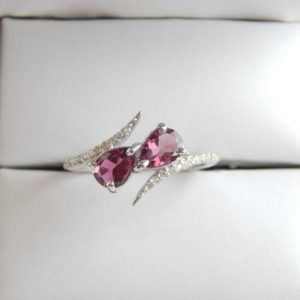 Shop Pink Tourmaline Rings! Pink Tourmaline Ring Pear Cut With White Topaz 925 Sterling Silver Handmade Anniversary Engagement Christmas Gift Women Ring Cocktail Ring | Natural genuine Pink Tourmaline rings, simple unique alternative gemstone engagement rings. #rings #jewelry #bridal #wedding #jewelryaccessories #engagementrings #weddingideas #affiliate #ad