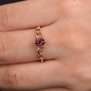 Shop Pink Tourmaline Rings! Pink Tourmaline Ring Rose Gold Unique Engagement Ring Filigree Ring Antique Wedding Band 5mm Round Solitaire Ring 6 prongs 14K | Natural genuine Pink Tourmaline rings, simple unique alternative gemstone engagement rings. #rings #jewelry #bridal #wedding #jewelryaccessories #engagementrings #weddingideas #affiliate #ad