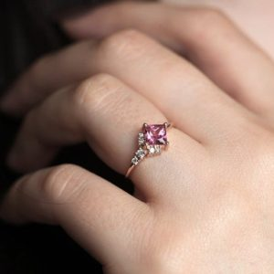 Pink Tourmaline Ring, Rose Gold Tourmaline Ring with Diamonds, Asymmetrical Cluster Ring, Pink Engagement Ring | Natural genuine Pink Tourmaline rings, simple unique alternative gemstone engagement rings. #rings #jewelry #bridal #wedding #jewelryaccessories #engagementrings #weddingideas #affiliate #ad