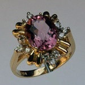 Shop Pink Tourmaline Rings! Pink Tourmaline Ring set in Yellow Gold | Natural genuine Pink Tourmaline rings, simple unique handcrafted gemstone rings. #rings #jewelry #shopping #gift #handmade #fashion #style #affiliate #ad