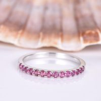 Pink Tourmaline Ring Tourmaline Wedding Band Solid 14k White Gold Eternity Ring Stacking Matching Band Anniversary Ring Classic Design | Natural genuine Gemstone jewelry. Buy handcrafted artisan wedding jewelry.  Unique handmade bridal jewelry gift ideas. #jewelry #beadedjewelry #gift #crystaljewelry #shopping #handmadejewelry #wedding #bridal #jewelry #affiliate #ad