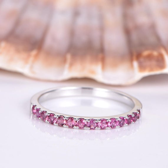 Pink Tourmaline Ring Tourmaline Wedding Band Solid 14k White Gold Eternity Ring Stacking Matching Band Anniversary Ring Classic Design