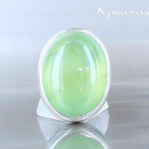 Shop Prehnite Rings! Prehnite silver ring. Size 6. Natural stone   Natural genuine Prehnite rings, simple unique handcrafted gemstone rings. #rings #jewelry #shopping #gift #handmade #fashion #style #affiliate #ad