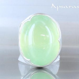 Shop Prehnite Rings! Prehnite Silver ring-  size 8,25 – Single jewelry adorned with a natural gemstone. Quality made design by ApsarasV | Natural genuine Prehnite rings, simple unique handcrafted gemstone rings. #rings #jewelry #shopping #gift #handmade #fashion #style #affiliate #ad