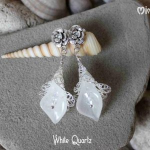 Shop Quartz Crystal Earrings! White Quartz Earrings, Calla Lily Earrings, White Calla Earrings, Bridal Earrings, Wedding Earrings, Victorian Earrings, Filigree Earrings | Natural genuine Quartz earrings. Buy handcrafted artisan wedding jewelry.  Unique handmade bridal jewelry gift ideas. #jewelry #beadedearrings #gift #crystaljewelry #shopping #handmadejewelry #wedding #bridal #earrings #affiliate #ad