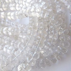 Shop Quartz Crystal Faceted Beads! Quartz Crystal Faceted Rondelle Beads, Faceted Quartz Crystal Beads, 9mm Each, 10 Inch Strand, GDS619 | Natural genuine faceted Quartz beads for beading and jewelry making.  #jewelry #beads #beadedjewelry #diyjewelry #jewelrymaking #beadstore #beading #affiliate #ad