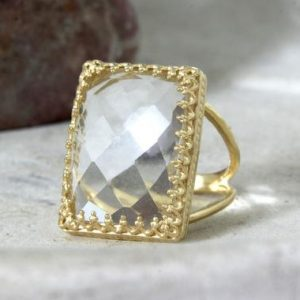 Shop Quartz Crystal Rings! 14k Gold Filled Ring, crystal Quartz Ring, birthday Gifts, birthstone Gift, mothers Ring, clear Quartz Ring | Natural genuine Quartz rings, simple unique handcrafted gemstone rings. #rings #jewelry #shopping #gift #handmade #fashion #style #affiliate #ad
