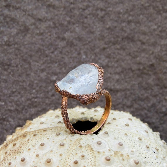 Herkimer Diamond Quartz and Textured Copper Earthy Bohemian Ring Electroformed Jewellery