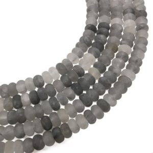 Shop Quartz Crystal Rondelle Beads! 8x5mm Matte Gray Quartz Rondelle Beads, Rondelle Stone Beads, Gemstone Beads | Natural genuine rondelle Quartz beads for beading and jewelry making.  #jewelry #beads #beadedjewelry #diyjewelry #jewelrymaking #beadstore #beading #affiliate #ad