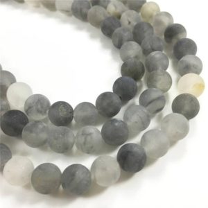 Shop Quartz Crystal Round Beads! 8mm Matte Gray Quartz Beads, Round Gemstone Beads, Wholesale Beads | Natural genuine round Quartz beads for beading and jewelry making.  #jewelry #beads #beadedjewelry #diyjewelry #jewelrymaking #beadstore #beading #affiliate #ad