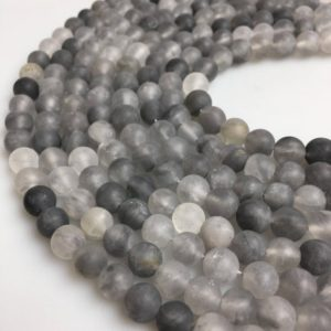 Shop Quartz Crystal Round Beads! Cloudy Quartz Matte Round Beads Size 4mm 6mm 8mm 10mm 12mm 15.5'' Strand | Natural genuine round Quartz beads for beading and jewelry making.  #jewelry #beads #beadedjewelry #diyjewelry #jewelrymaking #beadstore #beading #affiliate #ad