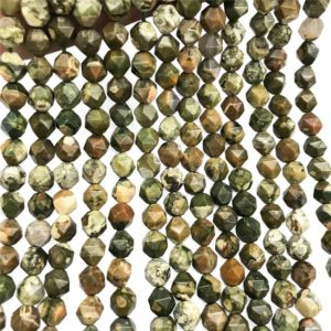Shop Rainforest Jasper Beads! Faceted Green Rhyolite Beads, Star Cut Beads, Gemstone Beads, 8mm, 10mm | Natural genuine faceted Rainforest Jasper beads for beading and jewelry making.  #jewelry #beads #beadedjewelry #diyjewelry #jewelrymaking #beadstore #beading #affiliate #ad