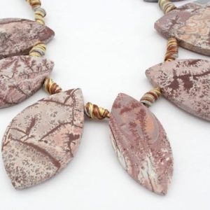 Shop Rainforest Jasper Beads! Matte Sonoran Dendrite Rhyolite freeform beads (ETB01112) Unique jewelry/Vintage jewelry/Gemstone necklace | Natural genuine other-shape Rainforest Jasper beads for beading and jewelry making.  #jewelry #beads #beadedjewelry #diyjewelry #jewelrymaking #beadstore #beading #affiliate #ad