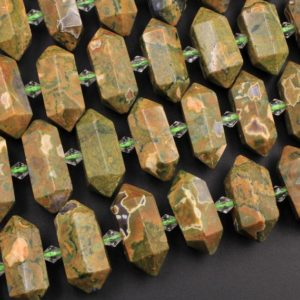 "Shop Rainforest Jasper Beads! Natural Rainforest Rhyolite Jasper Faceted Double Terminated Pointed Tips Center Drilled Healing Focal Pendant Bead 16"" Strand 
