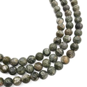 Shop Rainforest Jasper Beads! 8mm Green Rhyolite Beads, Round Gemstone Beads, Wholesale Beads | Natural genuine round Rainforest Jasper beads for beading and jewelry making.  #jewelry #beads #beadedjewelry #diyjewelry #jewelrymaking #beadstore #beading #affiliate #ad