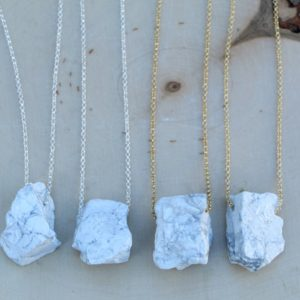 Shop Howlite Necklaces! Raw Howlite necklace, white Howlite necklace gold or silver | Natural genuine Howlite necklaces. Buy crystal jewelry, handmade handcrafted artisan jewelry for women.  Unique handmade gift ideas. #jewelry #beadednecklaces #beadedjewelry #gift #shopping #handmadejewelry #fashion #style #product #necklaces #affiliate #ad