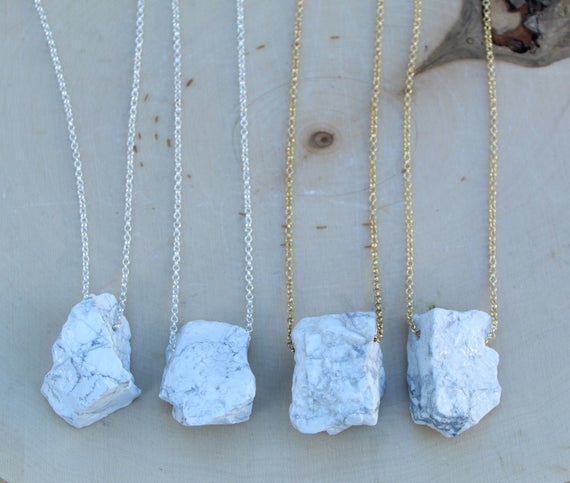 Raw Howlite Necklace, White Howlite Necklace Gold Or Silver
