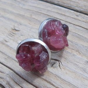 Raw pink tourmaline earrings,october birthstone,rough tourmaline studs,gemstone studs,hypoallergenic,crystal stud earrings,fashion earrings | Natural genuine Gemstone earrings. Buy crystal jewelry, handmade handcrafted artisan jewelry for women.  Unique handmade gift ideas. #jewelry #beadedearrings #beadedjewelry #gift #shopping #handmadejewelry #fashion #style #product #earrings #affiliate #ad