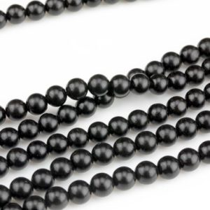 "Real Natural Jet Beads 6mm 8mm 10mm 12mm Round Beads AAA Quality Natural Gemstones 16"" Strand AAA Quality 