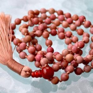Shop Rhodonite Necklaces! 6 mm Faceted Pink Rhodonite Hand Knotted Mala Beads Necklace – Compassion, Emotional Healer,Forgiveness,Release of Fear, Rhodonite Jewelry, | Natural genuine Rhodonite necklaces. Buy crystal jewelry, handmade handcrafted artisan jewelry for women.  Unique handmade gift ideas. #jewelry #beadednecklaces #beadedjewelry #gift #shopping #handmadejewelry #fashion #style #product #necklaces #affiliate #ad