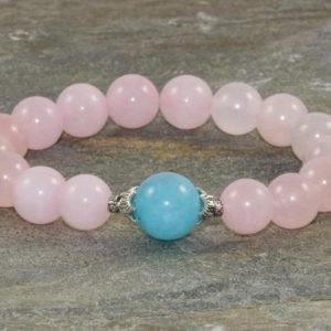 Shop Rose Quartz Bracelets! Rose Quartz & Blue Quartz Bracelet, Feminine Wrist Mala Beads, Spiritual Energy, Yoga Jewelry, Feminine Energy-Positive Communication-Love | Natural genuine Rose Quartz bracelets. Buy crystal jewelry, handmade handcrafted artisan jewelry for women.  Unique handmade gift ideas. #jewelry #beadedbracelets #beadedjewelry #gift #shopping #handmadejewelry #fashion #style #product #bracelets #affiliate #ad