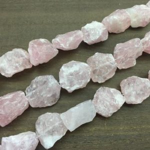 Shop Gemstone Chip & Nugget Beads! Large Rose Quartz Nugget beads Raw Rough Hammered Rock Quartz Crystal points Center Drilled Gemstone Beads supplies for jewelry making XP | Natural genuine chip Gemstone beads for beading and jewelry making.  #jewelry #beads #beadedjewelry #diyjewelry #jewelrymaking #beadstore #beading #affiliate #ad