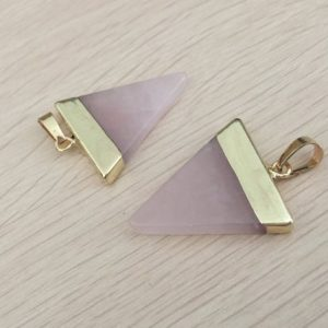 Shop Rose Quartz Beads! Rose quartz triangle pendant Pink quartz crystal pendant Triangle gemstone Pendant Charms Gold Plated stone necklace making supplies 1 pc | Natural genuine beads Rose Quartz beads for beading and jewelry making.  #jewelry #beads #beadedjewelry #diyjewelry #jewelrymaking #beadstore #beading #affiliate #ad