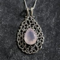 Rose Quartz Pendant, Natural Rose Quartz, Tear Drop Pendant, Pink Pendant, January Birthstone, Vintage Pendants, Silver Pendant, Rose Quartz | Natural genuine Gemstone jewelry. Buy crystal jewelry, handmade handcrafted artisan jewelry for women.  Unique handmade gift ideas. #jewelry #beadedjewelry #beadedjewelry #gift #shopping #handmadejewelry #fashion #style #product #jewelry #affiliate #ad