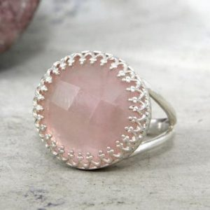 Silver Pink Ring, rose Quartz Ring, sterling Silver Ring, rose Quartz Jewelry, love Silver Ring, girlfriend Gift, october | Natural genuine Rose Quartz rings, simple unique handcrafted gemstone rings. #rings #jewelry #shopping #gift #handmade #fashion #style #affiliate #ad