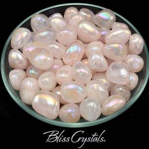 Shop Tumbled Rose Quartz Crystals & Pocket Stones! 1 Rose Quartz Aura Tumbled Stone Healing Crystal And Stones Platinum Silver #ra07 | Natural genuine stones & crystals in various shapes & sizes. Buy raw cut, tumbled, or polished gemstones for making jewelry or crystal healing energy vibration raising reiki stones. #crystals #gemstones #crystalhealing #crystalsandgemstones #energyhealing #affiliate #ad