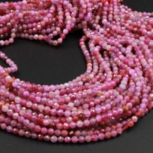 "A Grade Genuine Natural Ruby Faceted 2mm 3mm 4mm Round Beads Organic Natural Pink Red Ruby Gemstone Small Micro 15.5"" Strand 