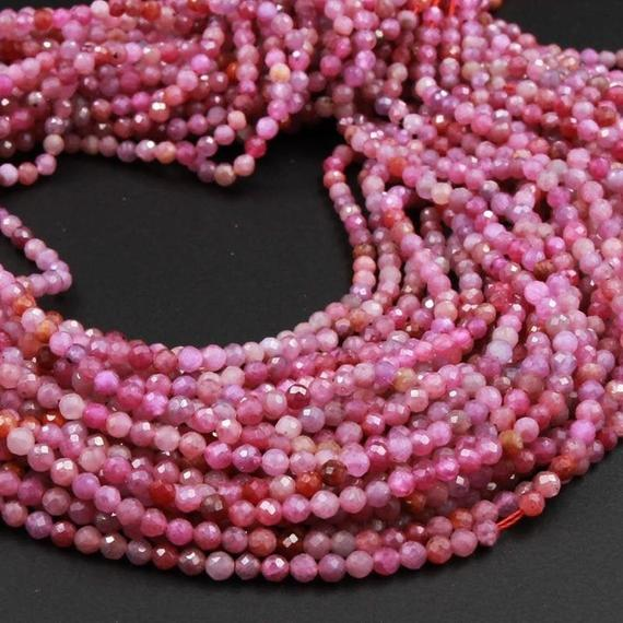 """A Grade Genuine Natural Ruby Faceted 2mm 3mm 4mm Round Beads Organic Natural Pink Red Ruby Gemstone Small Micro 15.5"""" Strand"""