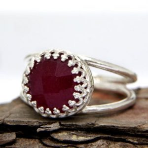 Shop Ruby Rings! Ruby ring,July birthstone ring,silver ring,custom rings,precious gemstone ring,delicate ring,small stone ring | Natural genuine Ruby rings, simple unique handcrafted gemstone rings. #rings #jewelry #shopping #gift #handmade #fashion #style #affiliate #ad