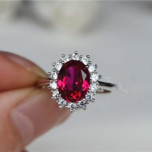 Halo Oval Ruby Ring/  925 Sterling Silver Ring Lab Ruby Anniversary Ring/ Promise Ring/ Ring Gift | Natural genuine Gemstone rings, simple unique handcrafted gemstone rings. #rings #jewelry #shopping #gift #handmade #fashion #style #affiliate #ad