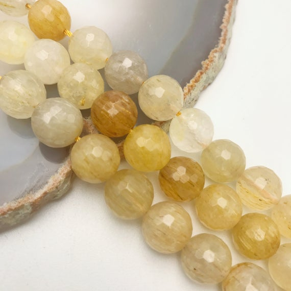 "Golden Rutilated Quartz Faceted Round Beads 4mm 6mm 8mm 10mm 15.5"" Strand"