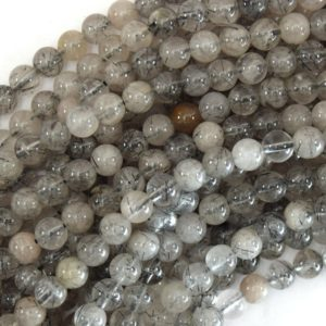 "Shop Rutilated Quartz Round Beads! Natural Black Rutilated Quartz Round Beads 15.5"" Strand 4mm 6mm 8mm 10mm 12mm 