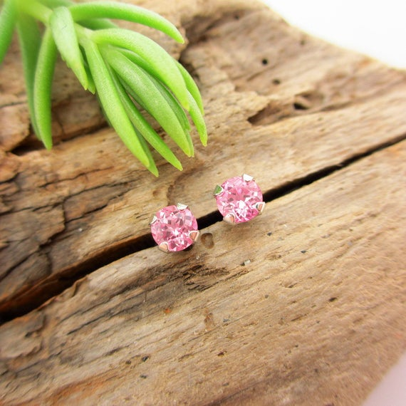 Pink Sapphire Lab Grown Studs | 14k White Gold, 14k Yellow Gold, Silver, Or Platinum | 3mm, 4mm, 5mm, 6mm Earrings With Baby Pink Sapphire