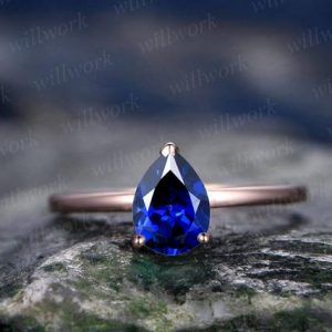 Blue sapphire engagement ring solitaire sapphire ring vintage solid 14k rose gold ring September birthstone ring wedding women bridal ring | Natural genuine Array rings, simple unique alternative gemstone engagement rings. #rings #jewelry #bridal #wedding #jewelryaccessories #engagementrings #weddingideas #affiliate #ad