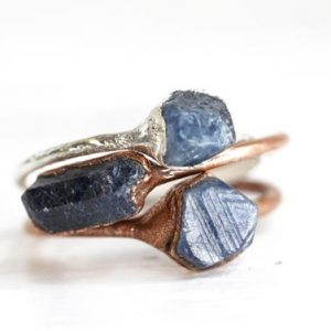 Shop Sapphire Rings! Raw Sapphire Ring – Natural Stone Ring – September Birthstone Jewelry – Raw Blue Stone Ring | Natural genuine Sapphire rings, simple unique handcrafted gemstone rings. #rings #jewelry #shopping #gift #handmade #fashion #style #affiliate #ad