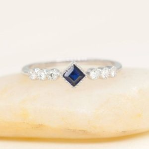 Square Bezel Engagement Ring.Princess Cut Blue Sapphire White Gold Bridal Ring.Round Diamond Minimalist Ring.Sapphire Wedding Ring. | Natural genuine Gemstone rings, simple unique alternative gemstone engagement rings. #rings #jewelry #bridal #wedding #jewelryaccessories #engagementrings #weddingideas #affiliate #ad